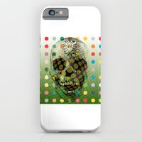 iPhone & iPod Case featuring Op Art Skull With Multi-coloured Dots by justlikeandy.co.uk Andy Warhol-style