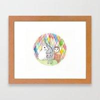 Rabbit, Cat, Owl Framed Art Print