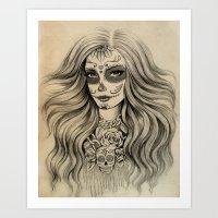 sugar skull Art Prints featuring Sugar Skull by Vivian Lau