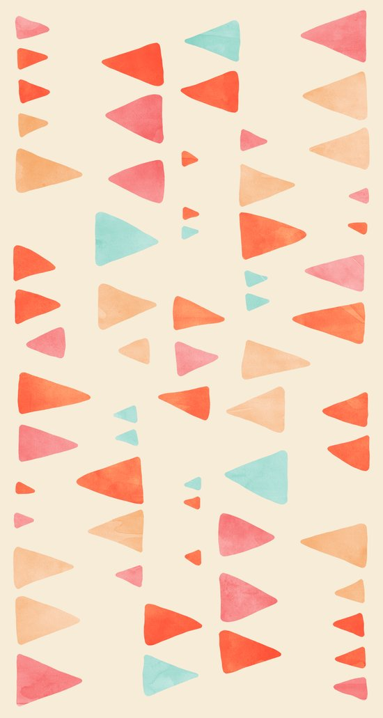 Back & Forth - triangle abstract pattern in peach, aqua & cream Art Print
