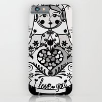 iPhone & iPod Case featuring Gray matryoshka by Lilach Vidal by Papercutsongs- Lilach Vidal