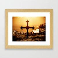 Cross and Church Near St. Anne's Skete, Mount Athos, Greece Framed Art Print