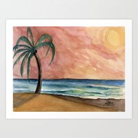 The Waves At Sunset Art Print