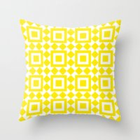 Moroccan Tiles Yellow Throw Pillow