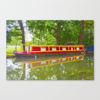 Canal Boat Painted Canvas Print