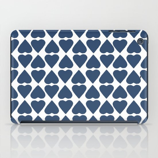 Diamond Hearts Repeat Navy iPad Case