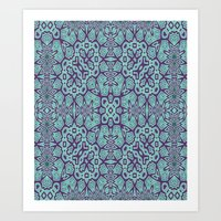 Ethnic Geo Teal & Plum Art Print