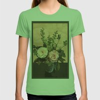 Rose Painting Womens Fitted Tee Grass SMALL