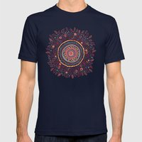 Sunflower Mandala Mens Fitted Tee Navy SMALL