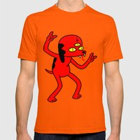Satan's Little Helper Mens Fitted Tee Orange SMALL