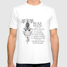 Alice In Wonderland Jabberwocky Poem Mens Fitted Tee White SMALL