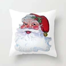 Vintage Style Jolly Santa  Throw Pillow