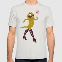 Puss in Hookerboots Mens Fitted Tee Silver SMALL