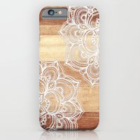 iPhone Cases featuring White doodles on blonde wood - neutral / nude colors by micklyn