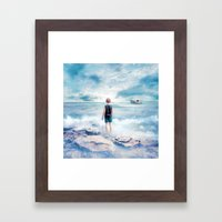 Waiting at the water's edge Framed Art Print