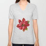 Christmas Poinsettia Unisex V-Neck