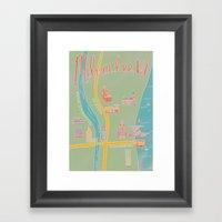Downtown Milwaukee Map Framed Art Print