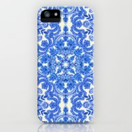 Cobalt Blue & China Whit… iPhone (5, 5s) Slim Case