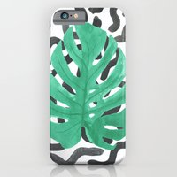 Monstera Leaf Tropical Illustration and Pattern iPhone 6 Slim Case