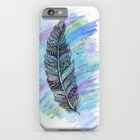 zentangle doodle watercolor feather iPhone 6 Slim Case