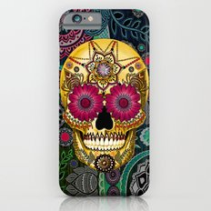 Sugar Skull Paisley Garden - Colorful Floral Sugar Skull Art iPhone 6 Slim Case