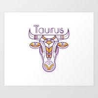 Deco Taurus Art Print