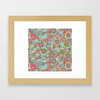 My flowers and butterflies in blue.  Framed Art Print