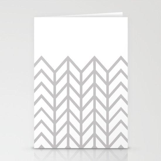 GRAY & WHITE LACE CHEVRON Stationery Card