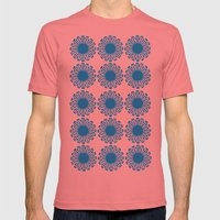 Vintage Flower_Turquoise Mens Fitted Tee Pomegranate SMALL