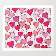 Heart Balloons Art Print