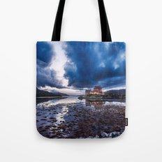 Dark Skies at Eilean Donan Castle Tote Bag