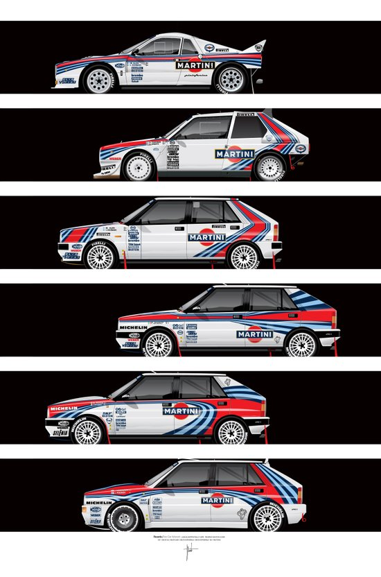 Lancia Martini Rally Cars Art Print