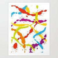 Splattered Rainbow [WHIT… Art Print