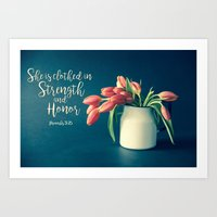 Strength and Honor - Tulips Art Print