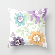 Flowers and Swirls Throw Pillow