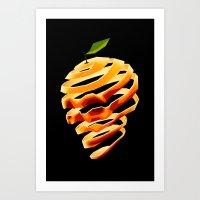 Orange Skull Art Print
