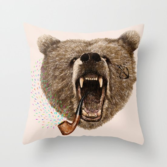 Angry Bear Throw Pillow