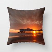 Cromer Pier Sunrise Throw Pillow