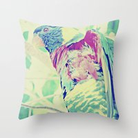 Colorful Bird Dreams  Throw Pillow