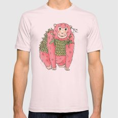 Peachtree The Chimp in Red Mens Fitted Tee Light Pink SMALL