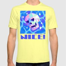 A REAL NICE SKULL Mens Fitted Tee Lemon SMALL