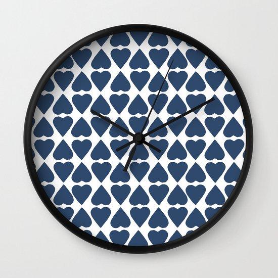 Diamond Hearts Repeat Navy Wall Clock