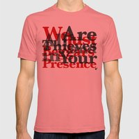 WE ARE ALL JUST THIEVES & BEGGARS IN YOUR (Matthew 15:27) Mens Fitted Tee Pomegranate SMALL
