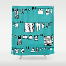 Laundry Doodle Shower Curtain
