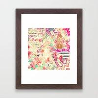 Flowers Mix Vintage Patchwork Framed Art Print