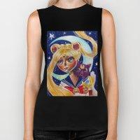 Sailor Moon and Luna Fan Art Pop Surrealism  Biker Tank