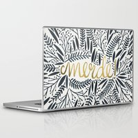 french Laptop & iPad Skins featuring Pardon My French – Black & Gold by Cat Coquillette