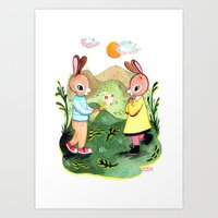 Happy Birthday Little Rabbit Art Print