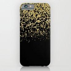 Sparkling golden glitter confetti on black I iPhone 6 Slim Case