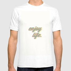Enjoy Life White SMALL Mens Fitted Tee